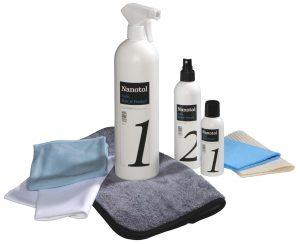Autopflege Set - mit Step 1 Cleaner und Step 2 Protector (Nanoversiegelung) für Auto, Boot, Wohnwagen oder Motorrad, für Lack, Felgen, Glas, Kunststoff und GFK